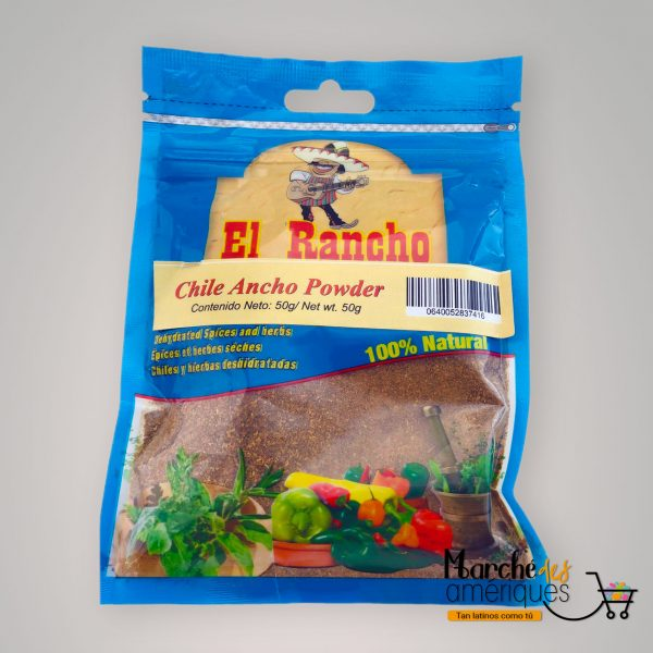 Chile Ancho En Polvo El Rancho 50 G