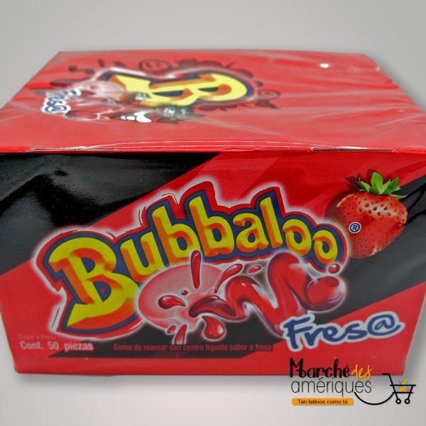 Goma De Mascar Con Centro Liquido De Fresa Bubbaloo 50 Und